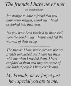 friends I've never met